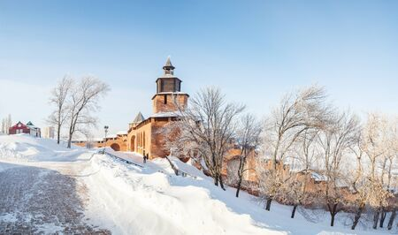 congress center: The Clock Tower, the Kremlin Wall and Trees in the Nizhny Novgorod Kremlin in Winter