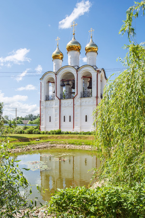 forerunner: Church of the Beheading of the head of John the Forerunner with reflection in the pond in the Nikolskiy convent in Pereslavl-Zalessky