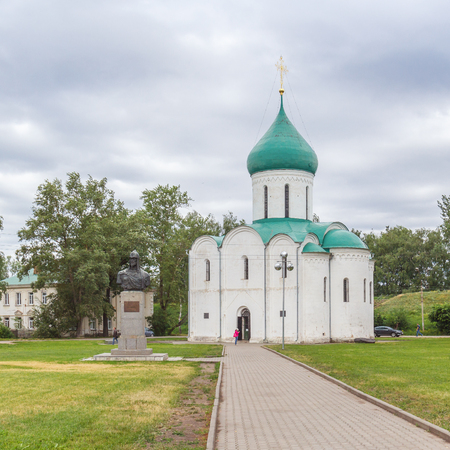 Cathedral of the Transfiguration and the monument to Alexander Nevsky on Red Square in Pereslavl-Zalessky