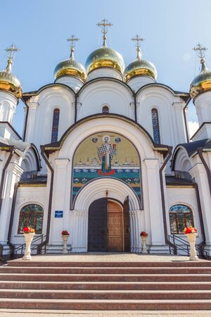 Entrance to the Cathedral of St. Nicholas in Nikolsky Monastery in Pereslavl-Zalessky Stock Photo