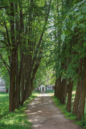 recluse: Alley to the cell of Irinarkha in Borisoglebsky monastery in Borisoglebsky Yaroslavl region Stock Photo