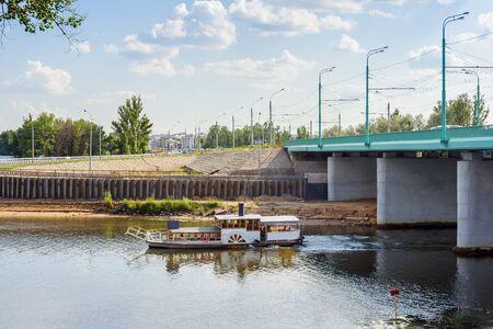Pleasure boat on the river Kotorosl in the city of Yaroslavl