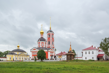blessed trinity: The Church of the Presentation into the Temple of the Blessed Virgin Mary, the Trinity of the Life-Giving and the wooden chapel of the Trinity-Sergius Varnitsky Monastery in the village of Varnitsa, Yaroslavl Region Stock Photo