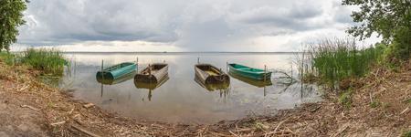 veliky: Four boats on Lake Nero near Rostov Veliky, Yaroslavl Region