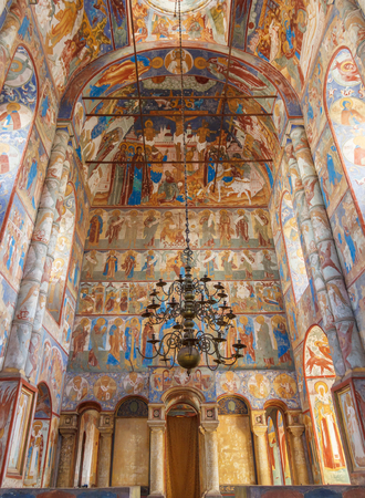 Paintings on the walls and ceiling in the church in the Kremlin of Rostov the Great