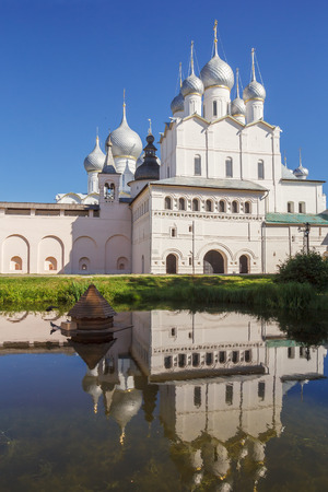 Church of the Resurrection with reflection in the pond in the Kremlin of Rostov the Great