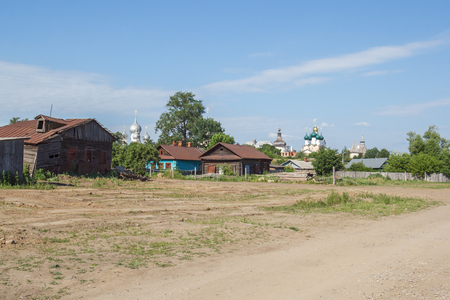 View of the church of the Kremlin from the street of the Suspicion near Nero Lake in Rostov the Great