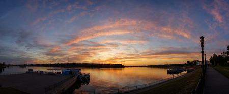 Sunset over the Volga on the waterfront in Uglich, Yaroslavl Region