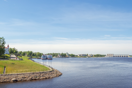 View of berths with motor ships, churches and hydroelectric power stations in Uglich, Yaroslavl Region