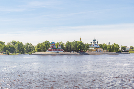 View of the Cathedral of the Transfiguration of the Savior and the church of Dimitri Tsarevich on the blood from the motor ship from the river in Uglich