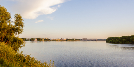 hydroelectric station: View of the city of Uglich in the sunset rays of the sun