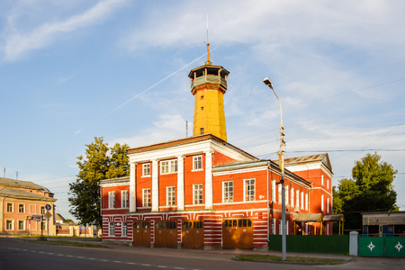 View of the fire department in the town of Uglich on Yaroslavl street Stock Photo