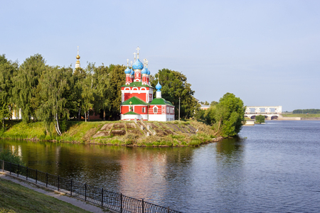 View of the church of Dimitry Tsarevich on blood on the bank of the Volga River in Uglich