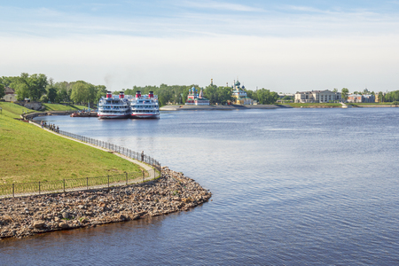View of the city of Uglich with passenger ships at the pier
