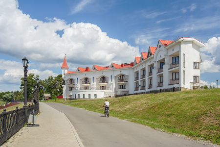 Embankment and hotel on the bank of the Volga in Uglich Редакционное