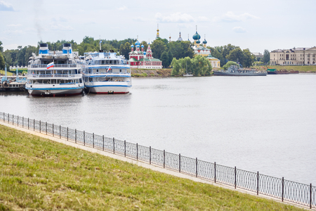 Two passenger motor ships on the quay in the city of Uglich, Yaroslavl region Stock Photo
