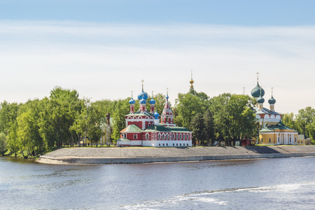 View of the church of Dimitri Tsarevich on the blood and the Cathedral of the Saviors Transfiguration from the motor ship from the river in Uglich