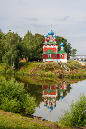 Church of Dimitry Tsarevich on Blood with Reflection in the Water in Uglich, Yaroslavl Region