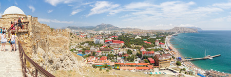 View from the observation deck of the Genoese fortress on Sudak, Sudak Bay and the sea in the Crimea Stock Photo