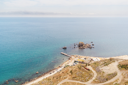 sudak: View from the top of the beach and shore in Sudak in the Crimea Stock Photo