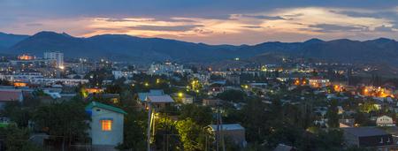 sudak: Evening view of the illuminated houses in Sudak in the Crimea Stock Photo