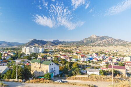 sudak: View of the mountains and the city of Sudak in the Crimea