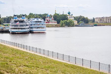 Berth of passenger motor ships in Uglich, Yaroslavl Region Stock Photo