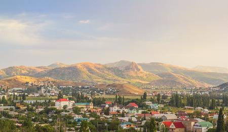 sudak: Mountains illuminated by the morning sun in Sudak, Crimea