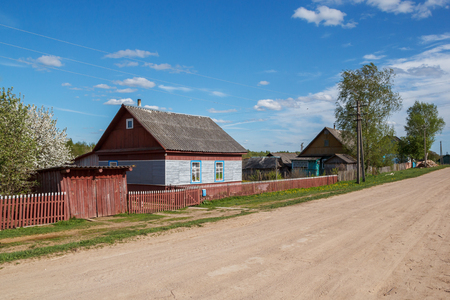 glades: One of the streets of the village of Tsevlo in the Pskov region