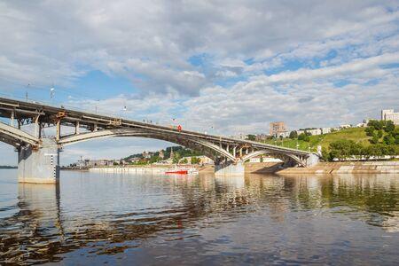 oka: Bridge over the river Oka with reflection in Nizhny Novgorod in the summer