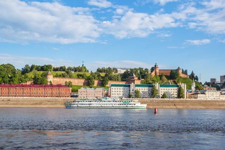 oka: Passenger river boat on the background of the Nizhny Novgorod kremlin
