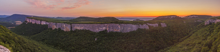 Panoramic view of the mountains near Bakhchisarai in the Republic of Crimea at sunset