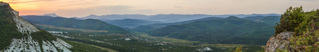 Mountain open spaces at sunrise in the Crimean mountains