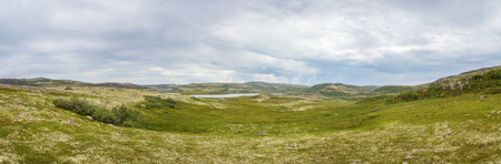 Summer view of the mountain tundra near the coast of the Barents Sea Stock Photo - 86564904