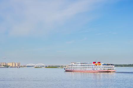 Four-deck motor ship goes along Nizhny Novgorod