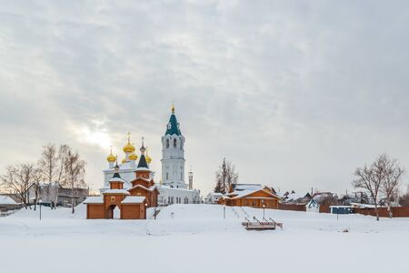 a bathing place: The Church of the Trinity of the Life-giving in Koposovo in the winter, Nizhny Novgorod Stock Photo