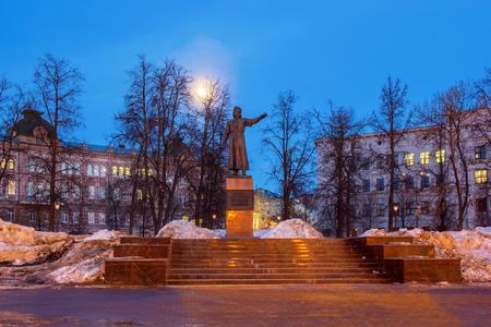 Monument to citizen Kuzma Minin in Nizhny Novgorod on a spring evening Editorial
