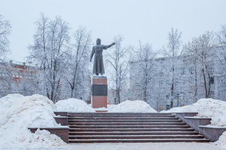 Monument to Kozma Minin on Minin and Pozharsky Square in Nizhny Novgorod in winter Editorial