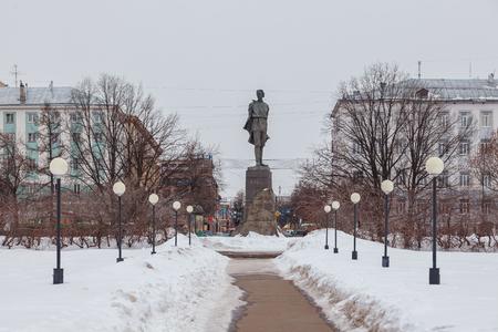 Monument to Maxim Gorky on Gorky Square in Nizhny Novgorod at winter