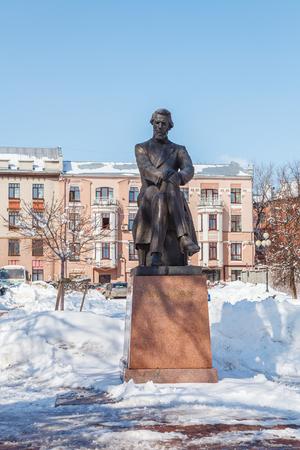 nikolay: Monument to Nikolay Dobrolyubov in Nizhny Novgorod at spring day