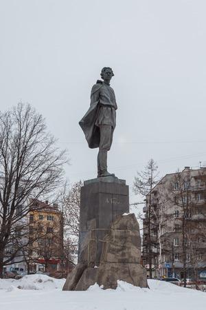 Monument to Maxim Gorky at full height on the pedestal on Gorky Square in Nizhny Novgorod at winter