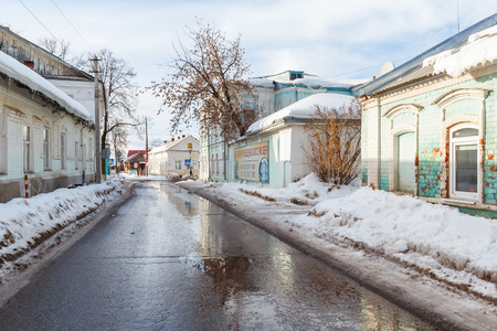 retailers: View on History Museum from MOPR street in the town of Gorodets Nizhny Novgorod region at spring