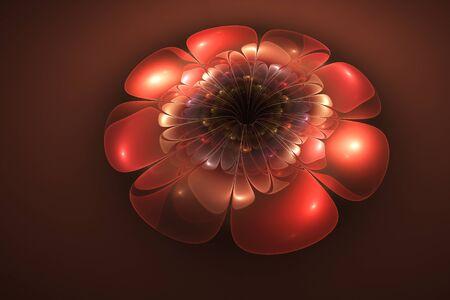 Volumetric red flower, fractal