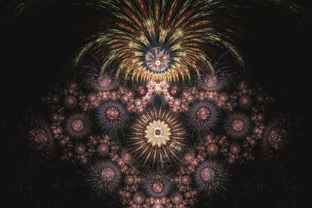 Outbreaks of fireworks in the dark sky, fractal