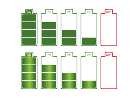 Battery charge status, icons vector illustration.