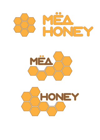 Honey and honeycombs in yellow color, icons Illustration