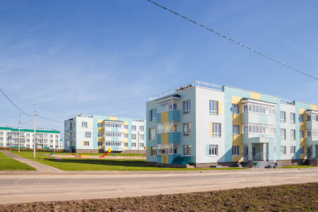 New housing estate with  low-rise houses Фото со стока