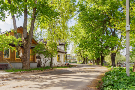 Private houses and green trees on the street in Ostashkov, Tver region