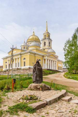 Monument to Nil Stolobensky and the Epiphany Cathedral in the Nilo-Stolobensky Desert, Tver Region, Russia Reklamní fotografie