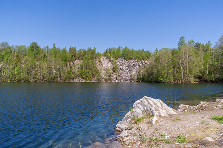 Lake of Montferran in the park Ruskeala, Karelia